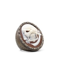 Black Diamond Trim Pirate Skull Cameo Ring Amedeo White