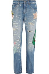 Dolce And Gabbana Appliqued High Rise Boyfriend Jeans Light Denim