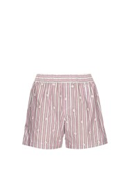 N 21 Embellished Striped Cotton Poplin Shorts Pink