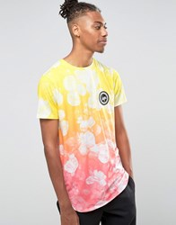 Hype Gradient T Shirt In Floral Print Yellow