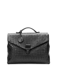 Men's Small Woven Leather Briefcase Black Bottega Veneta