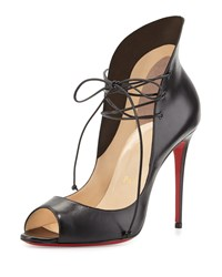 Christian Louboutin Mega Vamp Lace Up Red Sole Pump Black