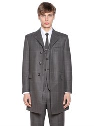 Thom Browne Prince Of Wales Wool Gabardine Coat