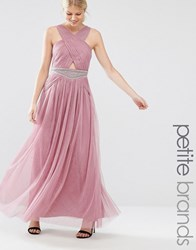 Little Mistress Petite Cutout Detail Maxi Dress With Embellished Waist Mauve Pink