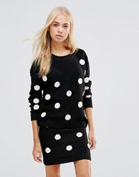 Qed London Knitted Polka Dot Co Ord Black Cream