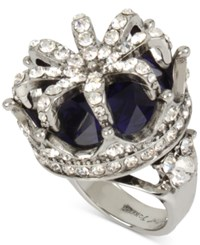 Betsey Johnson Silver Tone Blue Stone Pave Crown Ring