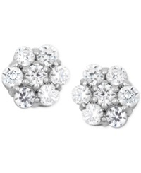 Wrapped In Love Diamond Cluster Flower Stud Earrings 1 2 Ct. T.W. In 14K White Gold No Color