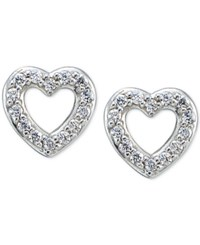 Giani Bernini Cubic Zirconia Pave Heart Stud Earrings In Sterling Silver Only At Macy's