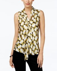 Nine West Printed Tie Front Blouse Bamboo Multi