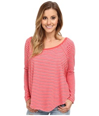 Billabong On My Mind Long Sleeve Top Hot Coral Women's Long Sleeve Pullover Red