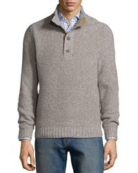 Neiman Marcus Textured Mock Neck Cashmere Sweater Gray