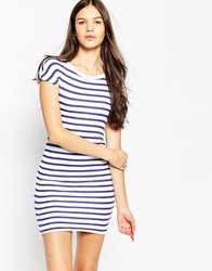 Sundry Boat Neck Striped Ruched Dress White