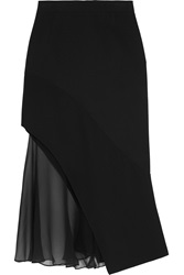 Givenchy Midi Skirt In Black Crepe And Silk Chiffon