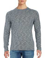 Selected Long Sleeve Marled Cotton Tee Blueberry