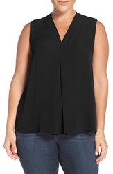Sejour Plus Size Women's Pleat Front V Neck Shell