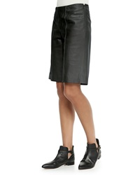 Red Valentino Leather Side Zip Bermuda Shorts