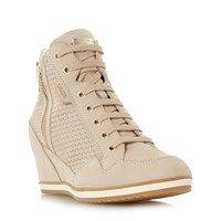 Geox D Illusion Lace Up Sporty Wedge Trainers Taupe