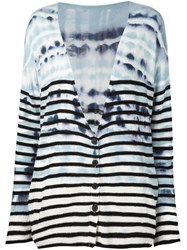 Raquel Allegra Tie Dye Print Striped Cardigan Blue
