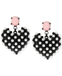 Betsey Johnson Black Tone Faux Pearl Heart Earrings