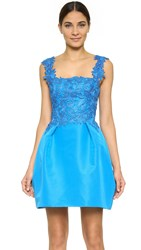 Monique Lhuillier Sleeveless Combo Dress With Full Skirt Azure