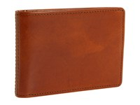 Bosca Old Leather New Fashioned Collection Small Bifold Wallet Amber Leather Bi Fold Wallet Brown