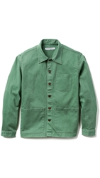 Brooklyn Tailors Washed Poplin Overshirt Spring Green