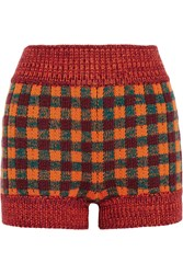 Miu Miu Checked Wool Blend Shorts Orange