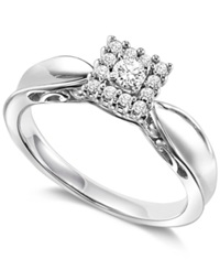 Macy's Square Diamond Engagement Ring In Sterling Silver 1 4 Ct. T.W.
