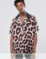Reclaimed Vintage Revere Shirt In Leopard Print And Reg Fit Stone