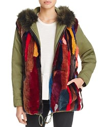 Aqua X Maddie And Tae Multi Color Fur Reversible Anorak Jacket 100 Bloomingdale's Exclusive Green Multi