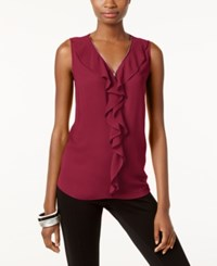 Inc International Concepts Ruffled Tank Top Only At Macy's Glazed Berry
