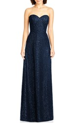 Dessy Collection Women's Sequin Lace Strapless A Line Gown Midnight