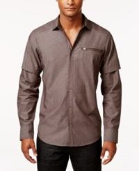 Inc International Concepts Men's Layered Sleeve Zip Pocket Shirt Only At Macy's Cola