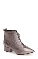 French Connection 'Robrey' Pointy Toe Bootie Women Pewter Metallic Leather