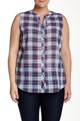 Sandra Ingrish Sleeveless Plaid Shirt Plus Size Blue