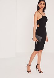 Missguided Crepe Strappy Cut Out Back Midi Dress Black Black