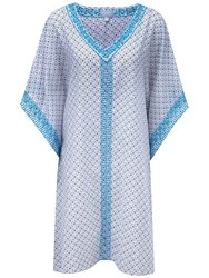 Pure Collection Katherine Embroidered Voile Kaftan Dress White Navy