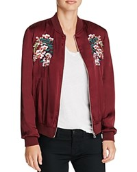 Aqua Embroidered Satin Bomber Jacket Burgundy