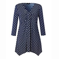 Grace Made In Britain Polka Tunic Top Navy
