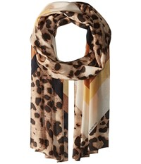 Vince Camuto Cheetah Chevron Oblong Taupe Scarves