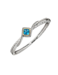 Lord And Taylor Blue Topaz And 14K Yellow Gold Bracelet