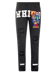 Off White Embroidered Patch And Printed Jeans