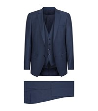 Boss Slim Fit Three Piece Suit Male Blue