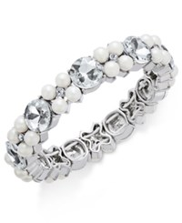 Charter Club Silver Tone Imitation Pearl And Crystal Stretch Bracelet Only At Macy's