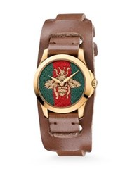 Gucci G Timeless Embroidered Bee Goldtone Stainless Steel And Leather Watch Brown