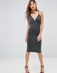 Oh My Love Plunge Bodycon Midi Dress With Cross Back Straps Metallic Rib Grey Lu