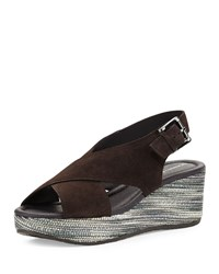 Donald J Pliner Sahar Crisscross Wedge Sandal Dark Brown