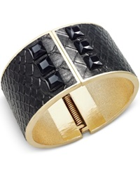 Bar Iii Gold Tone Black Croc Faux Leather Studded Hinge Bracelet