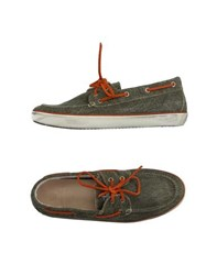 Leather Crown Footwear Moccasins Men Military Green
