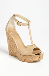 Jimmy Choo 'Pela' Cork Wedge Sandal Nude